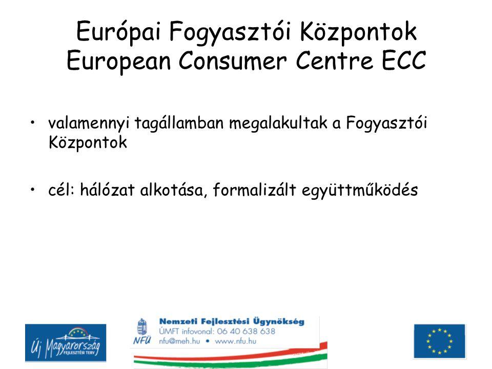 Európai Fogyasztói Központok European Consumer Centre ECC valamennyi tagállamban megalakultak a Fogyasztói Központok cél: hálózat alkotása, formalizált együttműködés