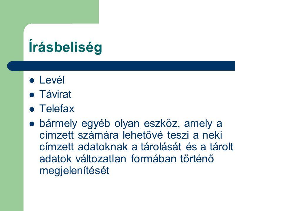 Írásbeliség Levél Távirat Telefax bármely egyéb olyan eszköz, amely a címzett számára lehetővé teszi a neki címzett adatoknak a tárolását és a tárolt adatok változatlan formában történő megjelenítését