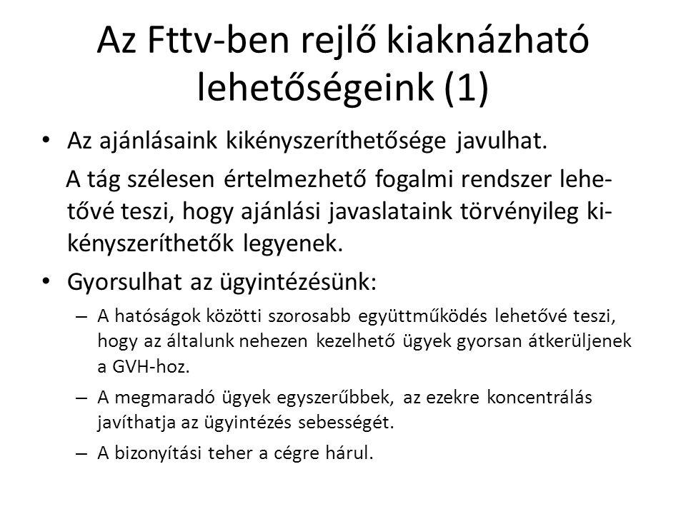 Az Fttv-ben rejlő kiaknázható lehetőségeink (1) Az ajánlásaink kikényszeríthetősége javulhat.