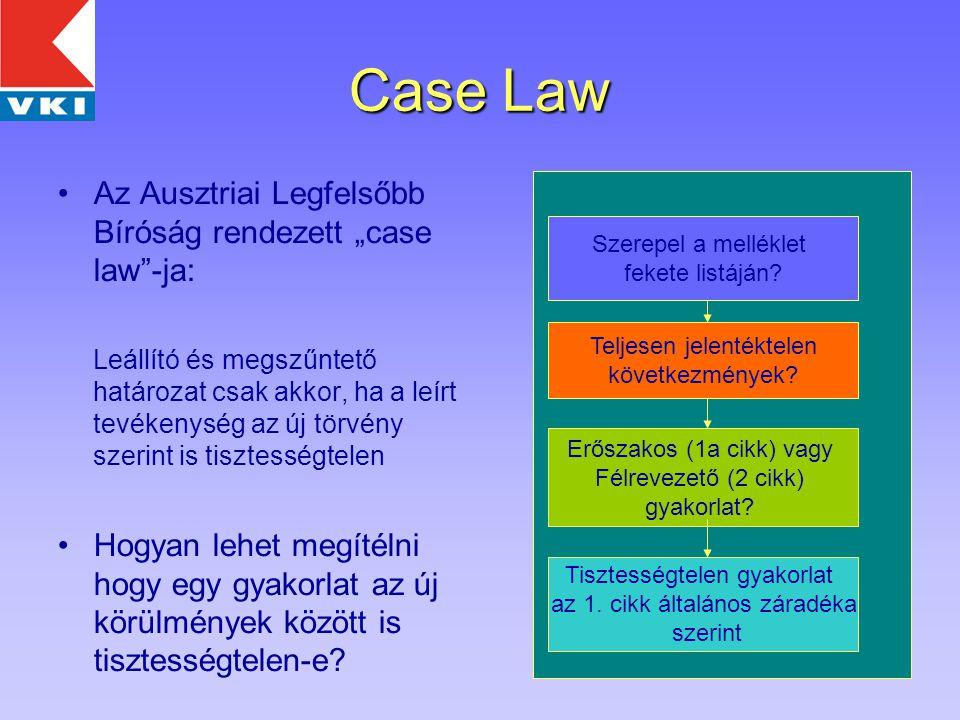 """5 Case Law Az Ausztriai Legfelsőbb Bíróság rendezett """"case law -ja: Leállító és megszűntető határozat csak akkor, ha a leírt tevékenység az új törvény szerint is tisztességtelen Hogyan lehet megítélni hogy egy gyakorlat az új körülmények között is tisztességtelen-e."""