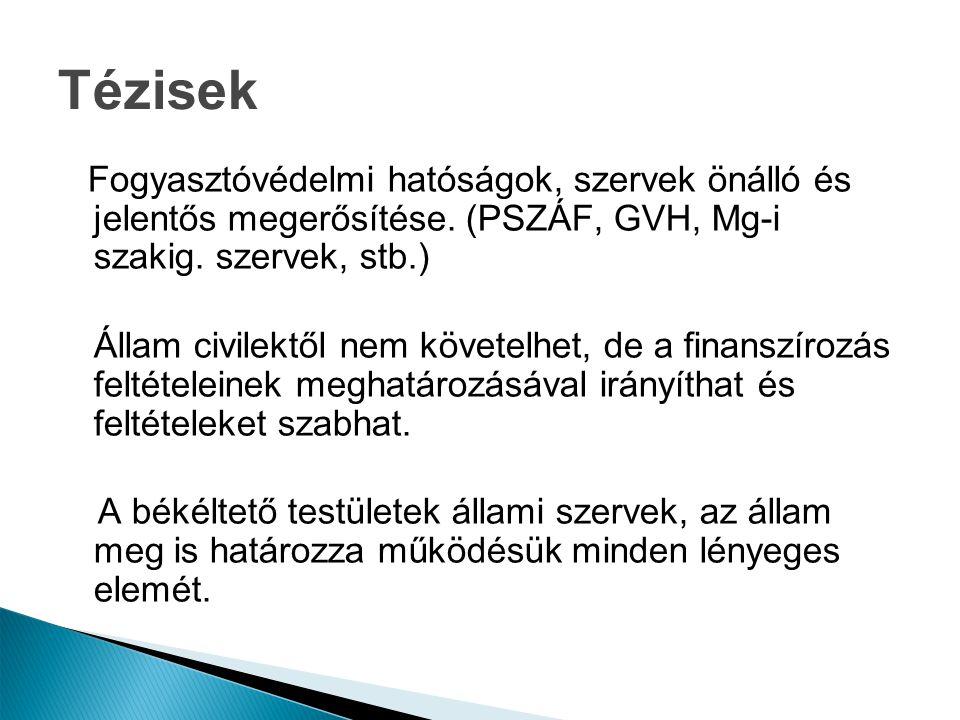 Tézisek Fogyasztóvédelmi hatóságok, szervek önálló és jelentős megerősítése. (PSZÁF, GVH, Mg-i szakig. szervek, stb.) Állam civilektől nem követelhet,