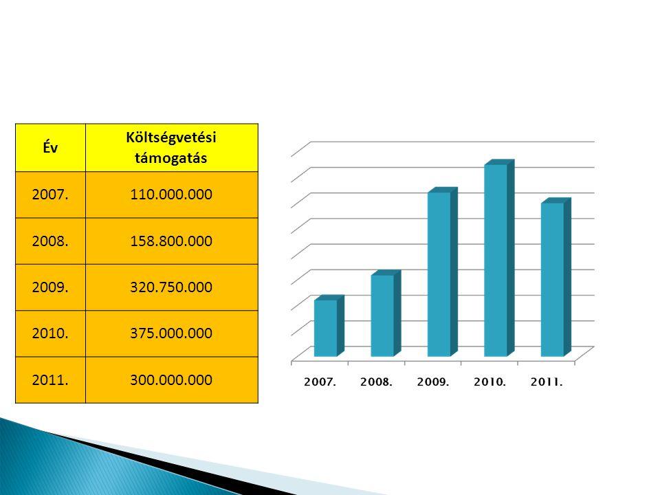 Év Költségvetési támogatás 2007.110.000.000 2008.158.800.000 2009.320.750.000 2010.375.000.000 2011.300.000.000