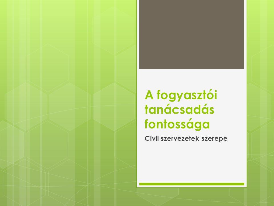 A fogyasztói tanácsadás fontossága Civil szervezetek szerepe