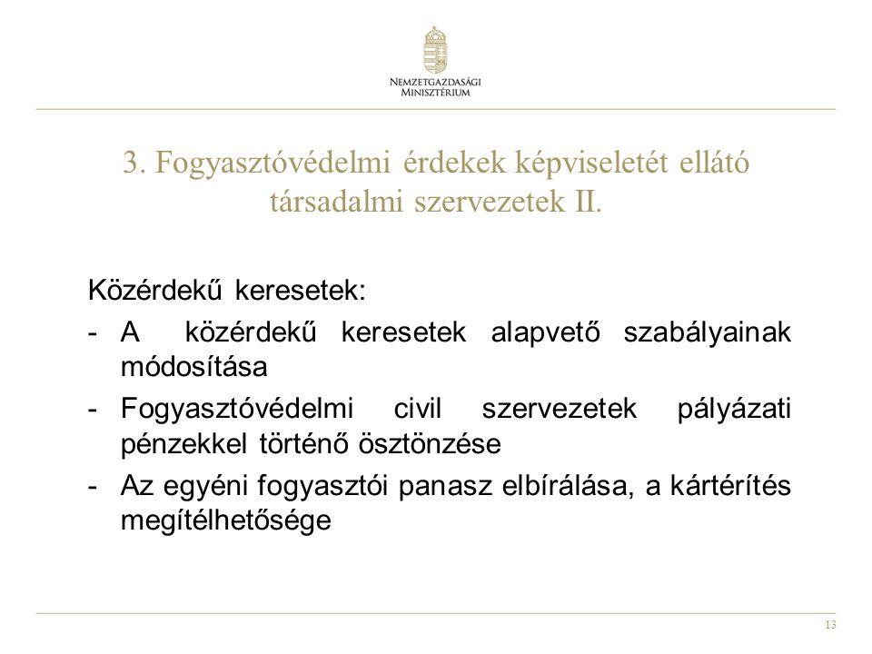 13 3. Fogyasztóvédelmi érdekek képviseletét ellátó társadalmi szervezetek II.