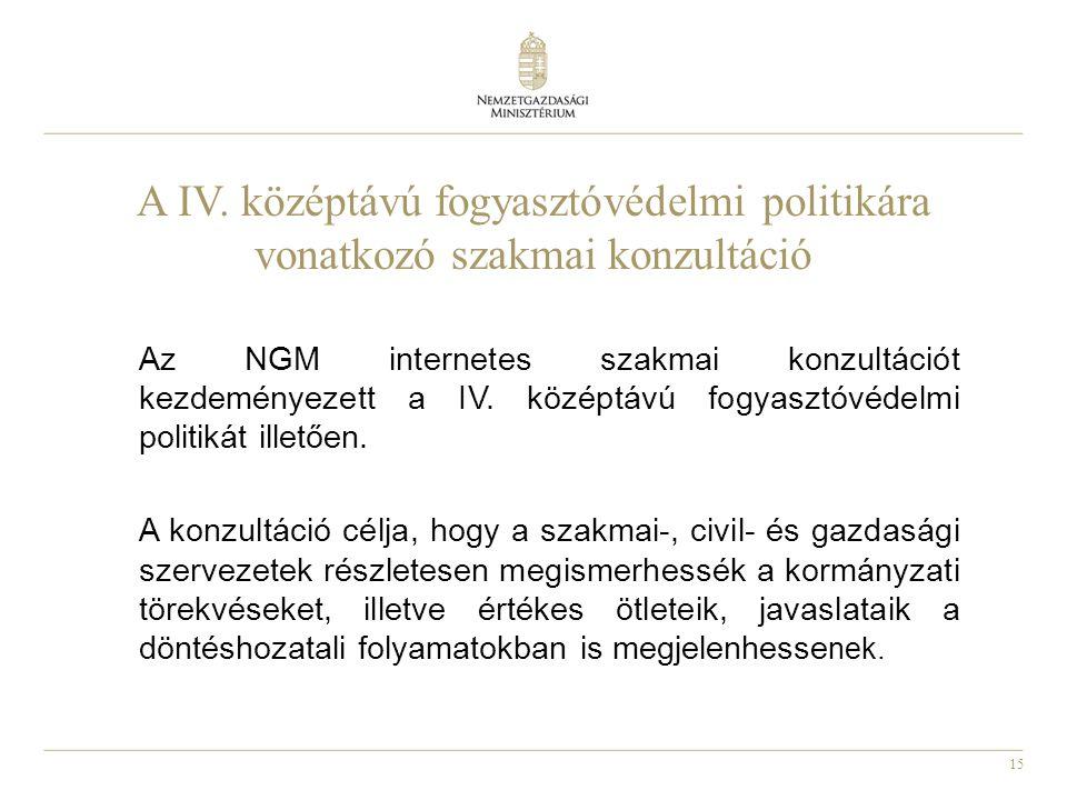 15 A IV. középtávú fogyasztóvédelmi politikára vonatkozó szakmai konzultáció Az NGM internetes szakmai konzultációt kezdeményezett a IV. középtávú fog