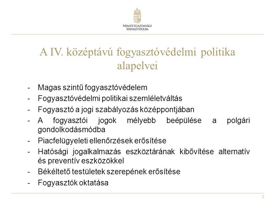 2 A IV. középtávú fogyasztóvédelmi politika alapelvei -Magas szintű fogyasztóvédelem -Fogyasztóvédelmi politikai szemléletváltás -Fogyasztó a jogi sza