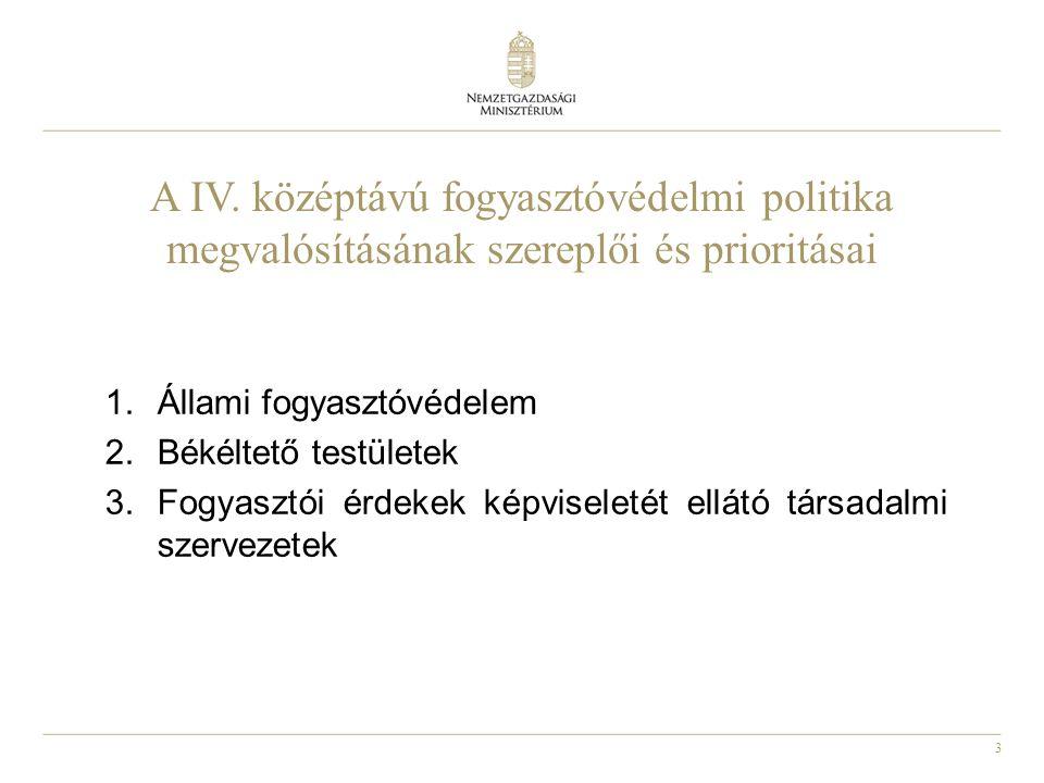 3 A IV. középtávú fogyasztóvédelmi politika megvalósításának szereplői és prioritásai 1.Állami fogyasztóvédelem 2.Békéltető testületek 3.Fogyasztói ér