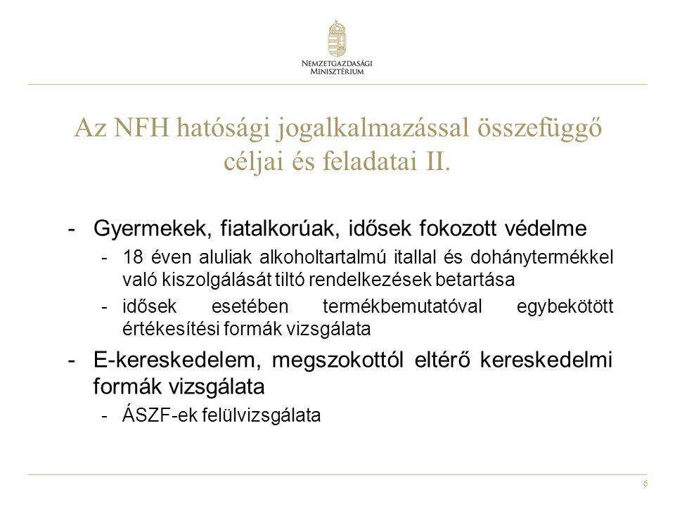 6 Az NFH hatósági jogalkalmazással összefüggő céljai és feladatai II.