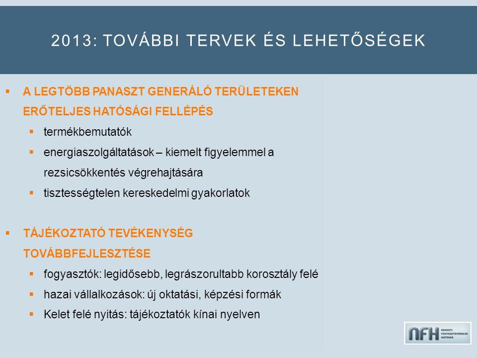 2013: TOVÁBBI TERVEK ÉS LEHETŐSÉGEK  A LEGTÖBB PANASZT GENERÁLÓ TERÜLETEKEN ERŐTELJES HATÓSÁGI FELLÉPÉS  termékbemutatók  energiaszolgáltatások – kiemelt figyelemmel a rezsicsökkentés végrehajtására  tisztességtelen kereskedelmi gyakorlatok  TÁJÉKOZTATÓ TEVÉKENYSÉG TOVÁBBFEJLESZTÉSE  fogyasztók: legidősebb, legrászorultabb korosztály felé  hazai vállalkozások: új oktatási, képzési formák  Kelet felé nyitás: tájékoztatók kínai nyelven