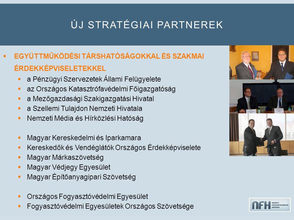 ÚJ STRATÉGIAI PARTNEREK  EGYÜTTMŰKÖDÉSI TÁRSHATÓSÁGOKKAL ÉS SZAKMAI ÉRDEKKÉPVISELETEKKEL  a Pénzügyi Szervezetek Állami Felügyelete  az Országos Katasztrófavédelmi Főigazgatóság  a Mezőgazdasági Szakigazgatási Hivatal  a Szellemi Tulajdon Nemzeti Hivatala  Nemzeti Média és Hírközlési Hatóság  Magyar Kereskedelmi és Iparkamara  Kereskedők és Vendéglátók Országos Érdekképviselete  Magyar Márkaszövetség  Magyar Védjegy Egyesület  Magyar Építőanyagipari Szövetség  Országos Fogyasztóvédelmi Egyesület  Fogyasztóvédelmi Egyesületek Országos Szövetsége