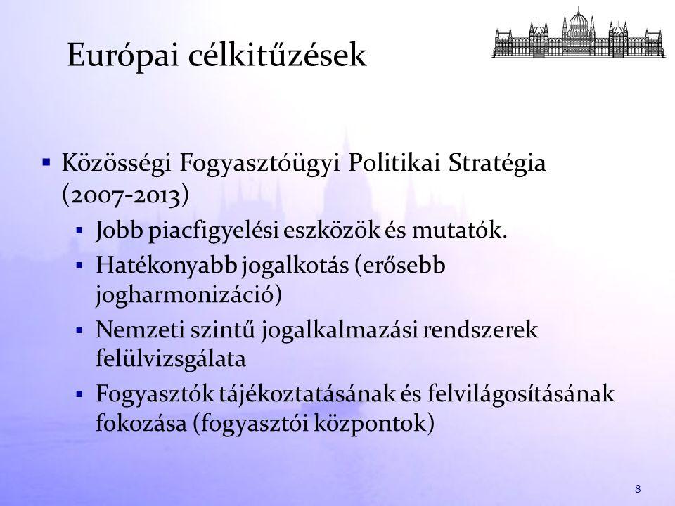  Közösségi Fogyasztóügyi Politikai Stratégia (2007-2013)  Jobb piacfigyelési eszközök és mutatók.