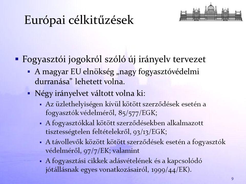""" Fogyasztói jogokról szóló új irányelv tervezet  A magyar EU elnökség """"nagy fogyasztóvédelmi durranása lehetett volna."""