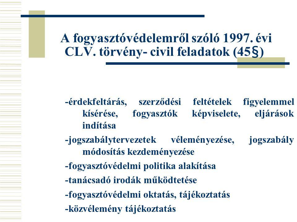 A fogyasztóvédelemről szóló 1997. évi CLV. törvény- civil feladatok (45§) -érdekfeltárás, szerződési feltételek figyelemmel kísérése, fogyasztók képv