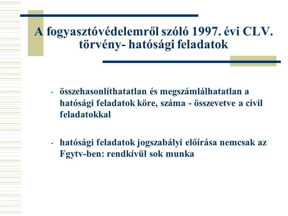 A fogyasztóvédelemről szóló 1997. évi CLV. törvény- hatósági feladatok összehasonlíthatatlan és megszámlálhatatlan a hatósági feladatok köre, száma -