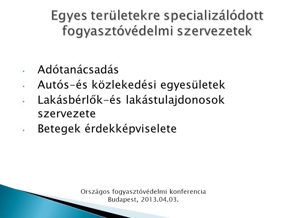 Adótanácsadás Autós-és közlekedési egyesületek Lakásbérlők-és lakástulajdonosok szervezete Betegek érdekképviselete Országos fogyasztóvédelmi konferencia Budapest, 2013.04.03.