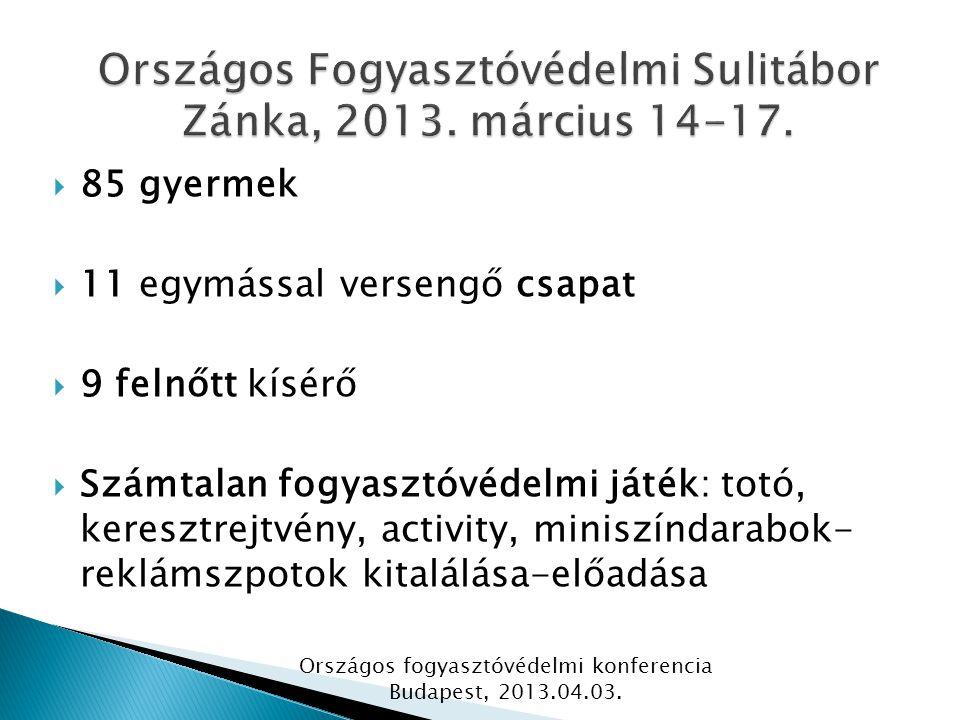  85 gyermek  11 egymással versengő csapat  9 felnőtt kísérő  Számtalan fogyasztóvédelmi játék: totó, keresztrejtvény, activity, miniszíndarabok- reklámszpotok kitalálása-előadása Országos fogyasztóvédelmi konferencia Budapest, 2013.04.03.