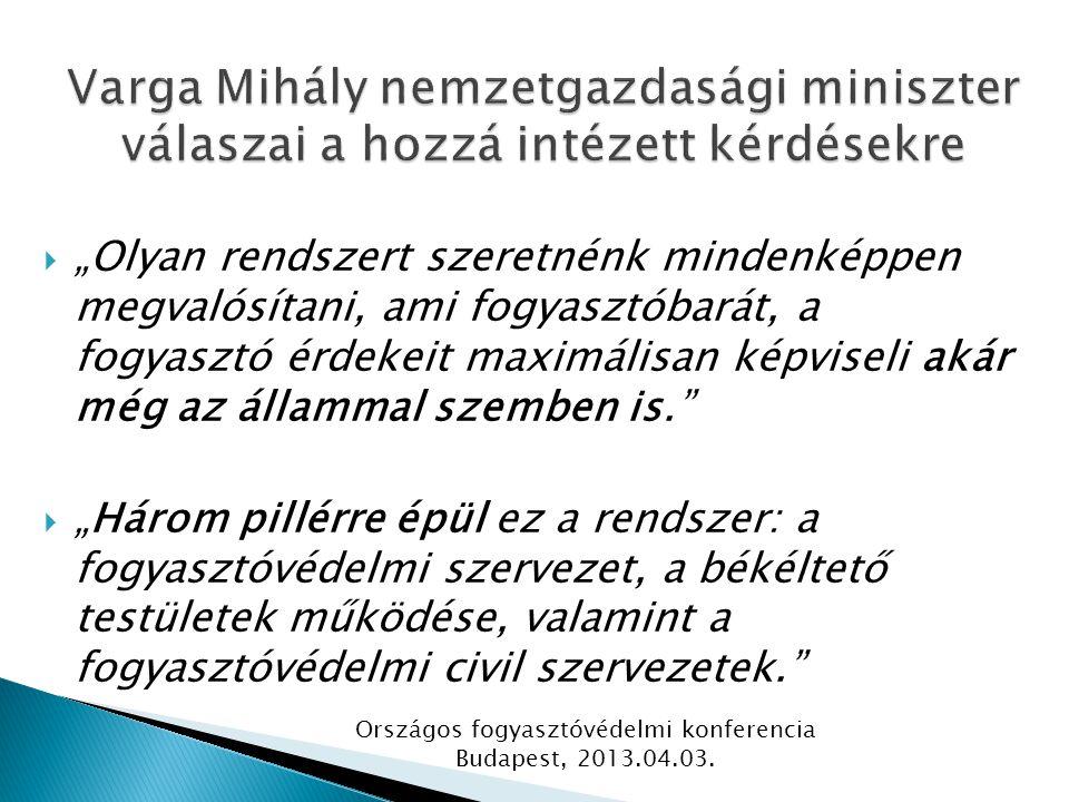""" """"Olyan rendszert szeretnénk mindenképpen megvalósítani, ami fogyasztóbarát, a fogyasztó érdekeit maximálisan képviseli akár még az állammal szemben is.  """"Három pillérre épül ez a rendszer: a fogyasztóvédelmi szervezet, a békéltető testületek működése, valamint a fogyasztóvédelmi civil szervezetek. Országos fogyasztóvédelmi konferencia Budapest, 2013.04.03."""