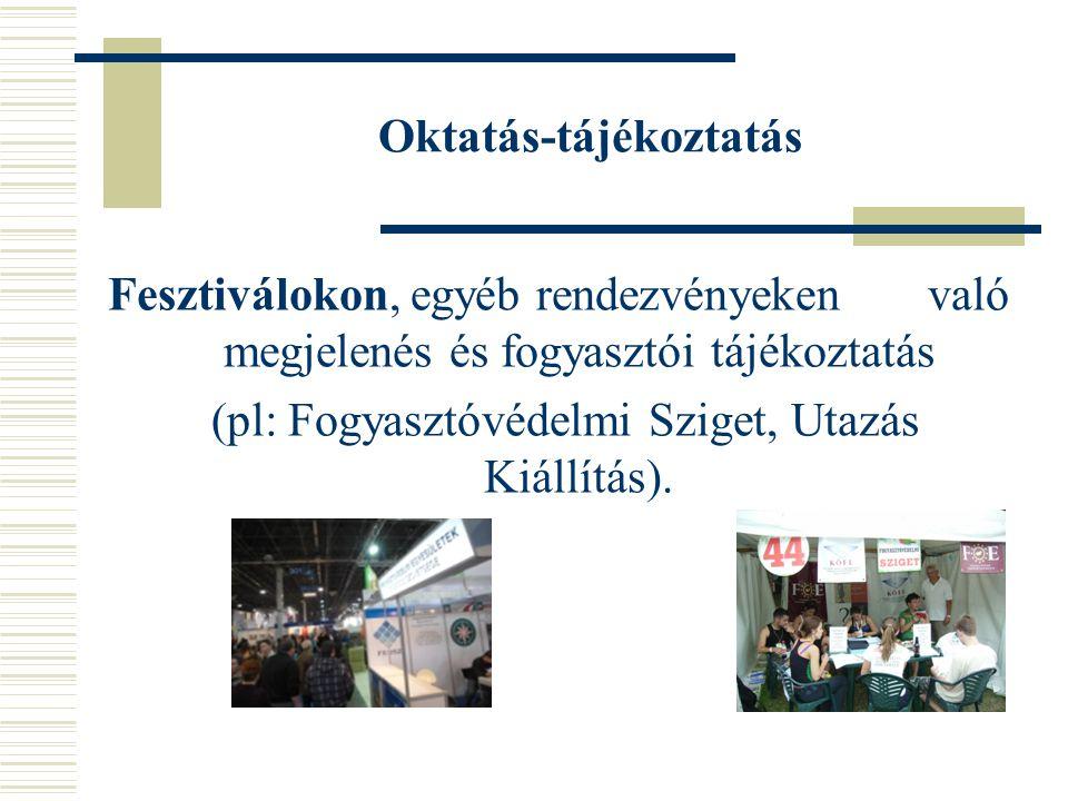 Oktatás-tájékoztatás Fesztiválokon, egyéb rendezvényeken való megjelenés és fogyasztói tájékoztatás (pl: Fogyasztóvédelmi Sziget, Utazás Kiállítás).