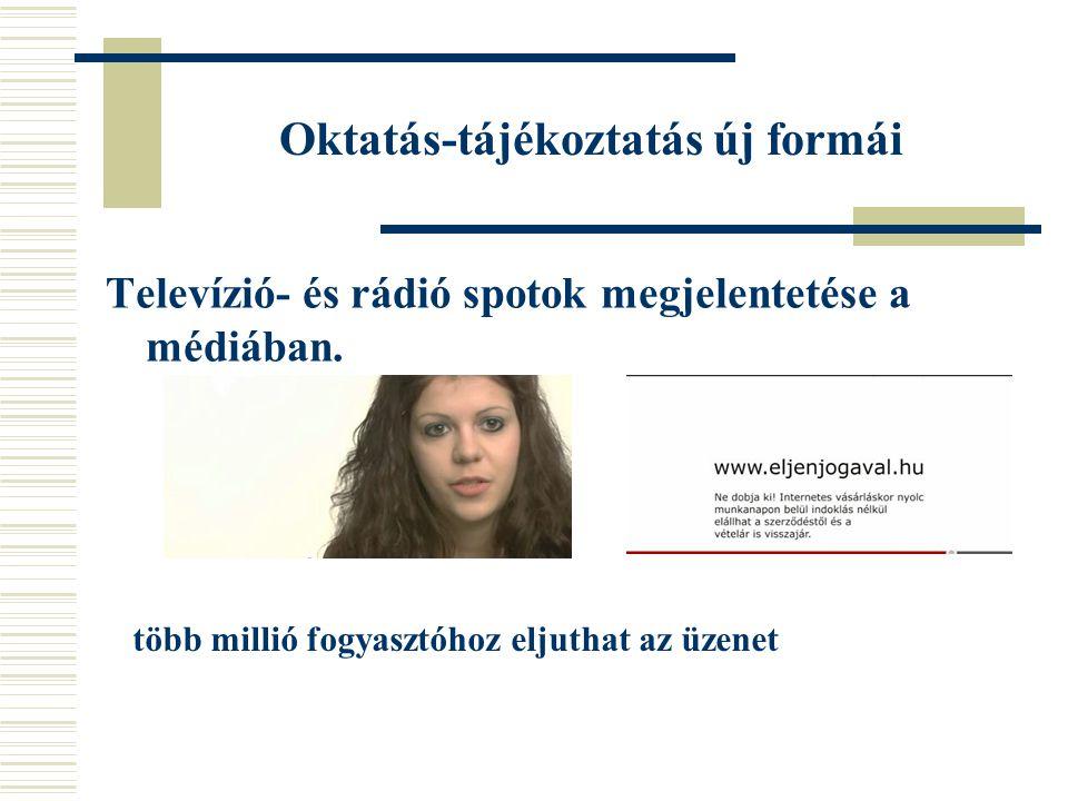 Oktatás-tájékoztatás új formái Televízió- és rádió spotok megjelentetése a médiában.