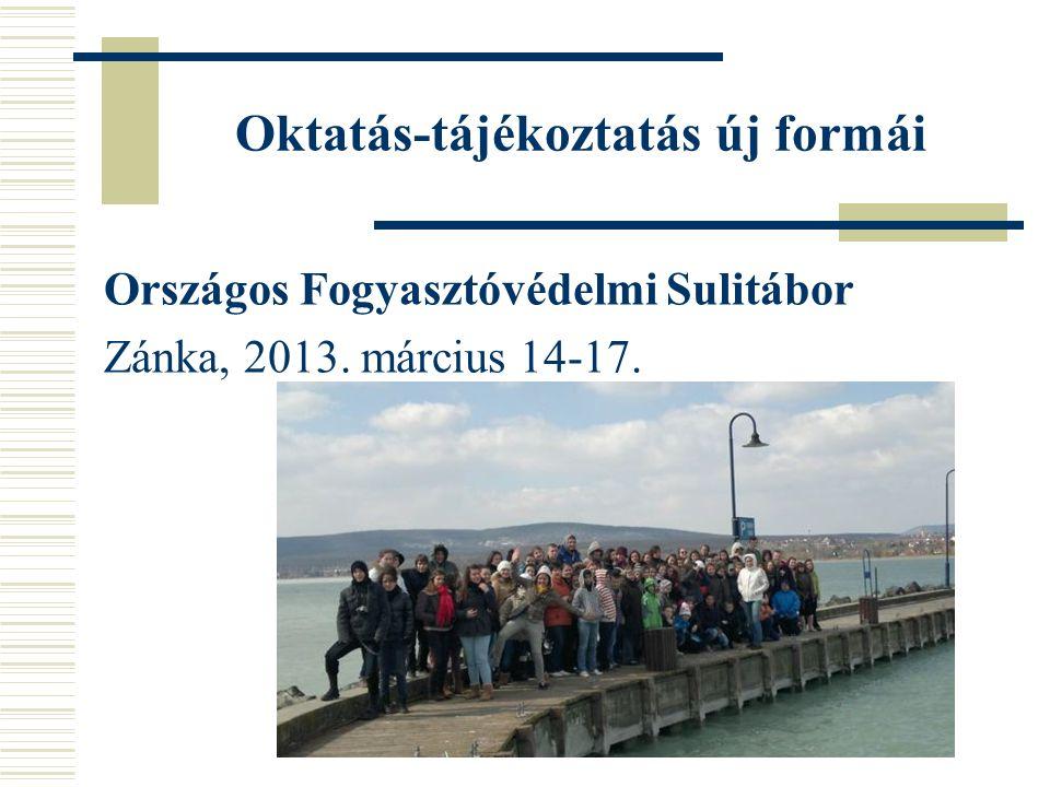 Oktatás-tájékoztatás új formái Országos Fogyasztóvédelmi Sulitábor Zánka, 2013. március 14-17.