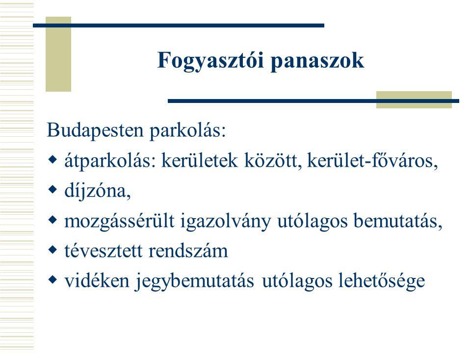 Fogyasztói panaszok Budapesten parkolás:  átparkolás: kerületek között, kerület-főváros,  díjzóna,  mozgássérült igazolvány utólagos bemutatás,  tévesztett rendszám  vidéken jegybemutatás utólagos lehetősége