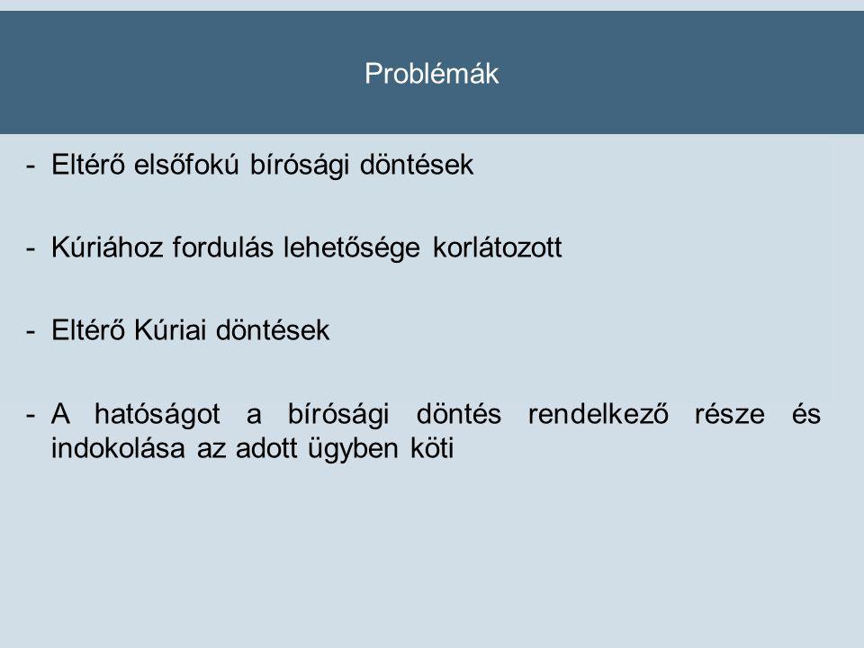 Problémák -Eltérő elsőfokú bírósági döntések -Kúriához fordulás lehetősége korlátozott -Eltérő Kúriai döntések -A hatóságot a bírósági döntés rendelkező része és indokolása az adott ügyben köti