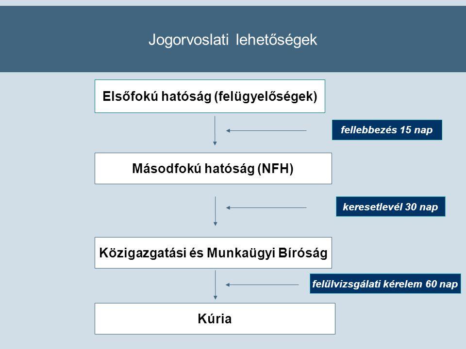 Jogorvoslati lehetőségek Elsőfokú hatóság (felügyelőségek) Másodfokú hatóság (NFH) fellebbezés 15 nap Közigazgatási és Munkaügyi Bíróság keresetlevél