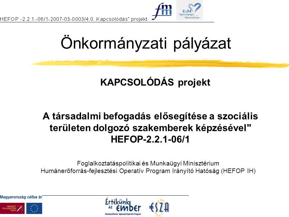 Foglalkoztatáspolitikai és Munkaügyi Minisztérium Humánerőforrás-fejlesztési Operatív Program Irányító Hatóság (HEFOP IH) A társadalmi befogadás elősegítése a szociális területen dolgozó szakemberek képzésével HEFOP-2.2.1-06/1 Önkormányzati pályázat KAPCSOLÓDÁS projekt