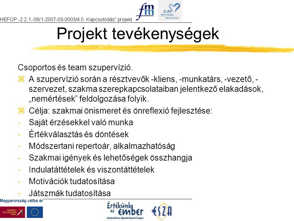 Projekt tevékenységek Csoportos és team szupervízió.