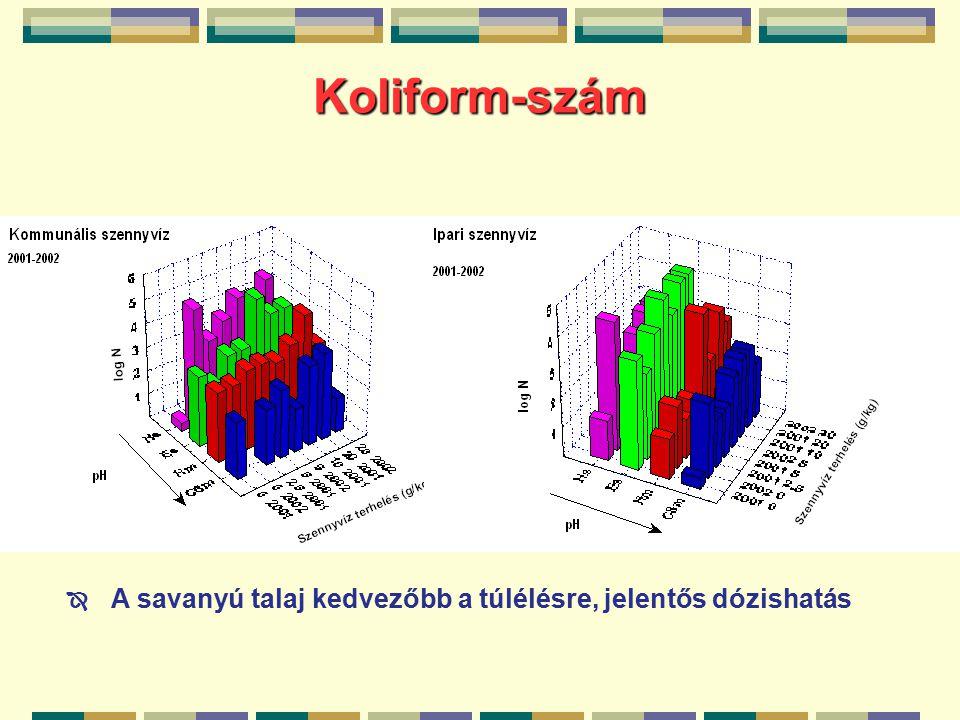 Koliform-szám  A savanyú talaj kedvezőbb a túlélésre, jelentős dózishatás