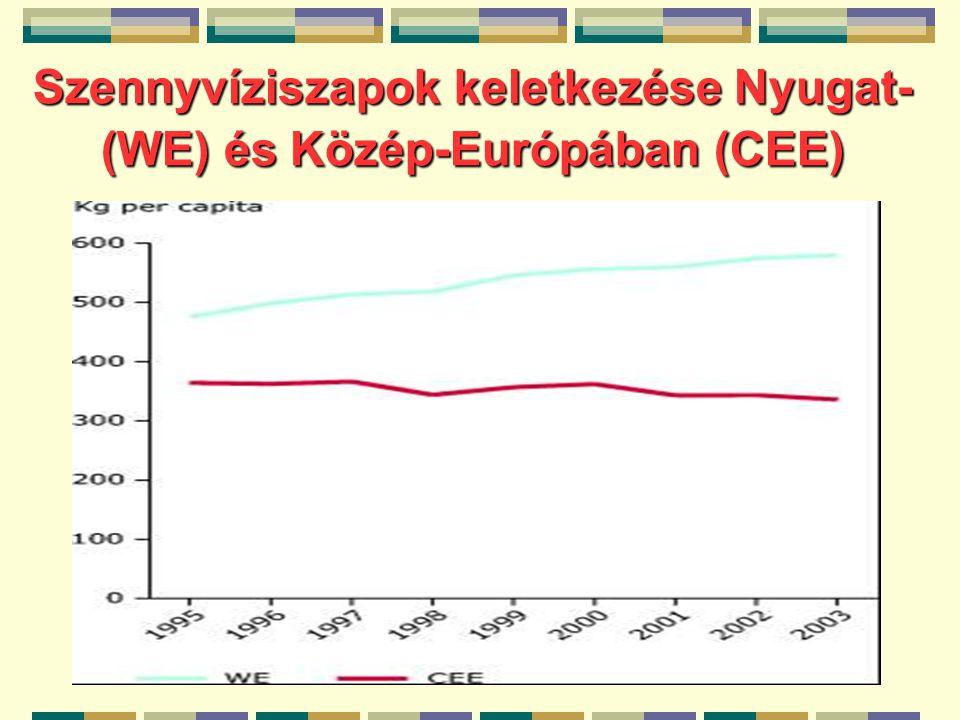Szennyvíziszapok keletkezése Nyugat- (WE) és Közép-Európában (CEE)