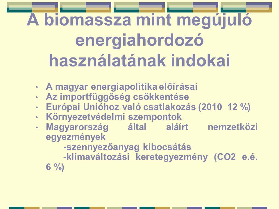 A biomassza mint megújuló energiahordozó használatának indokai A magyar energiapolitika előírásai Az importfüggőség csökkentése Európai Unióhoz való csatlakozás (2010 12 %) Környezetvédelmi szempontok Magyarország által aláírt nemzetközi egyezmények -szennyezőanyag kibocsátás -klímaváltozási keretegyezmény (CO2 e.é.