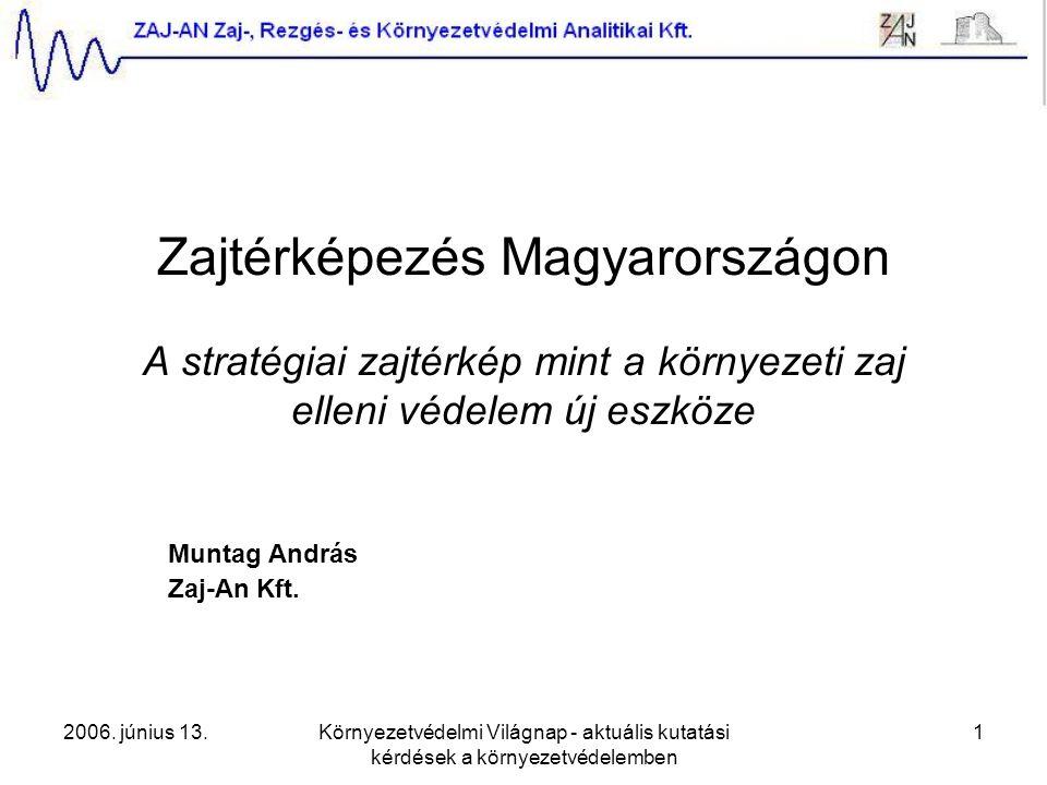 2006. június 13.Környezetvédelmi Világnap - aktuális kutatási kérdések a környezetvédelemben 1 Zajtérképezés Magyarországon A stratégiai zajtérkép min
