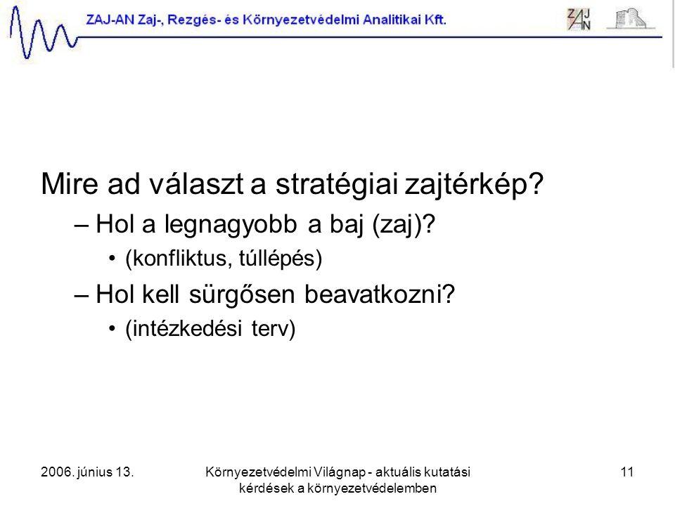 2006. június 13.Környezetvédelmi Világnap - aktuális kutatási kérdések a környezetvédelemben 11 Mire ad választ a stratégiai zajtérkép? –Hol a legnagy
