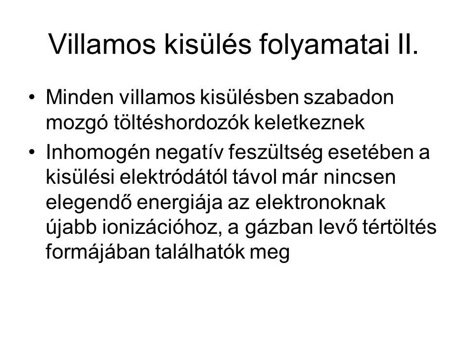 Villamos kisülés folyamatai II.