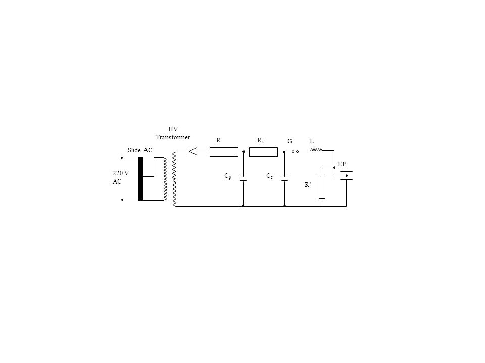 Slide AC HV Transformer 220 V AC RRcRc GL EP R' CcCc CpCp