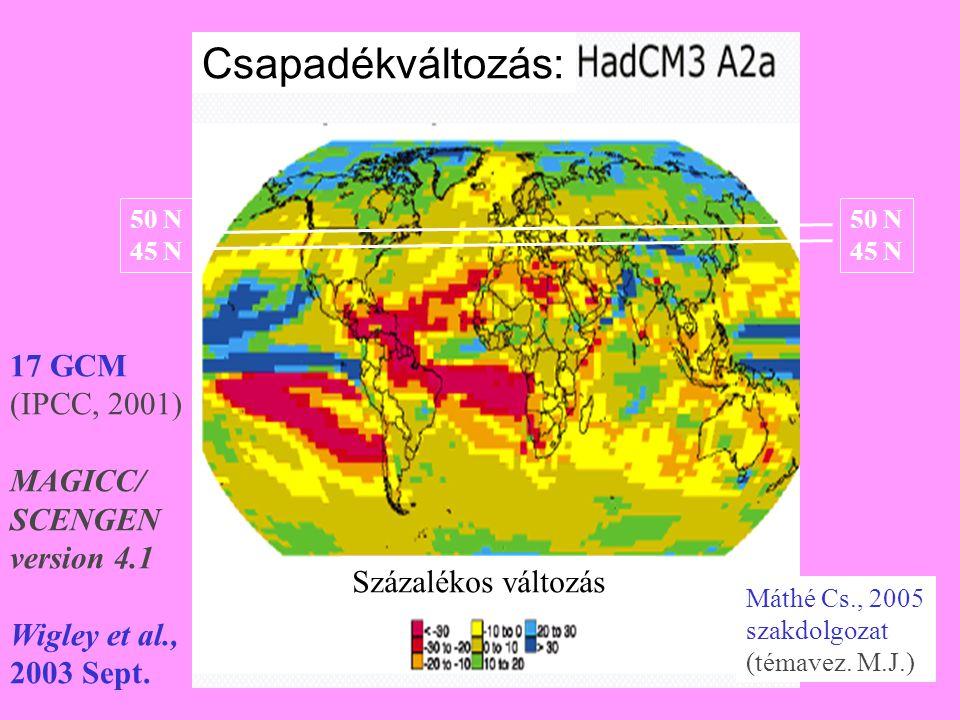 50 N 45 N 50 N 45 N 17 GCM (IPCC, 2001) MAGICC/ SCENGEN version 4.1 Wigley et al., 2003 Sept. Máthé Cs., 2005 szakdolgozat (témavez. M.J.) Csapadékvál
