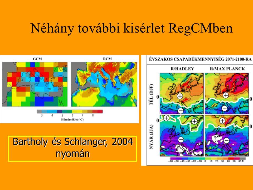 Néhány további kisérlet RegCMben Bartholy és Schlanger, 2004 nyomán