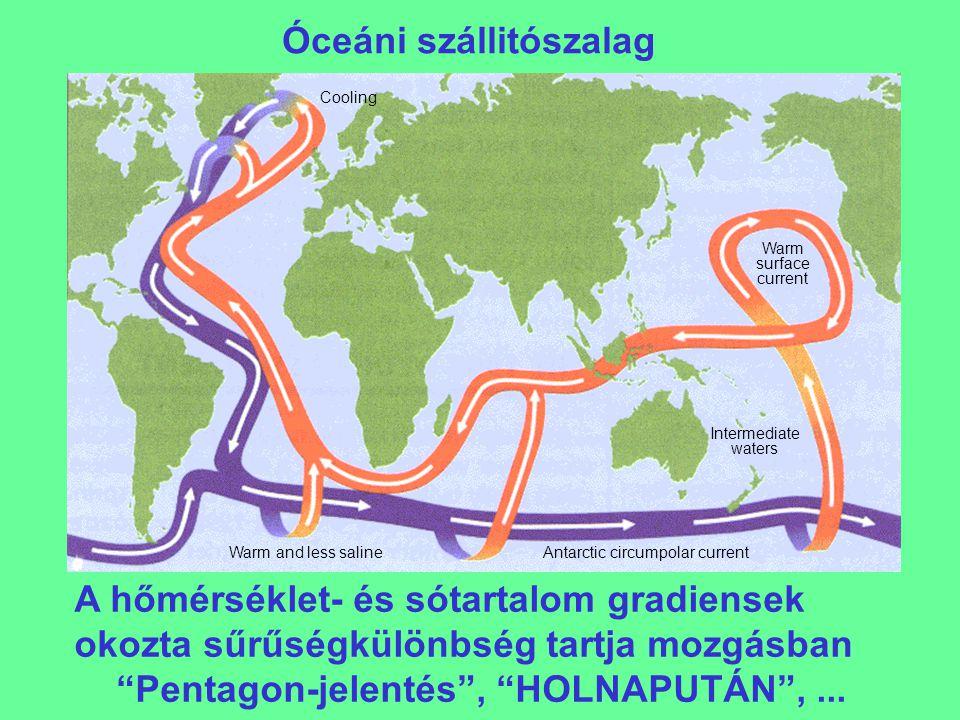 """Az Atlanti-óceáni cirkuláció (""""szállitószalag ) legyengülése 9 modellben (IPCC, 2001 9.21 ábra) Átlag: 10-30 Sv = 10-30 millió köbméter/másodperc"""