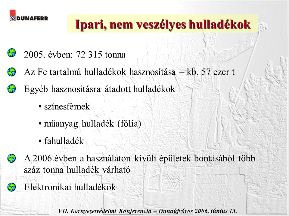 VII. Környezetvédelmi Konferencia – Dunaújváros 2006. június 13. Ipari, nem veszélyes hulladékok 2005. évben: 72 315 tonna Az Fe tartalmú hulladékok h
