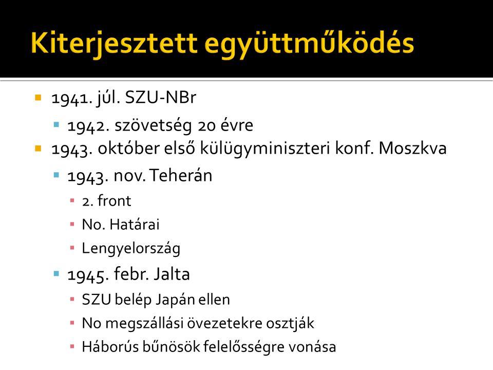  1941. júl. SZU-NBr  1942. szövetség 20 évre  1943. október első külügyminiszteri konf. Moszkva  1943. nov. Teherán ▪ 2. front ▪ No. Határai ▪ Len