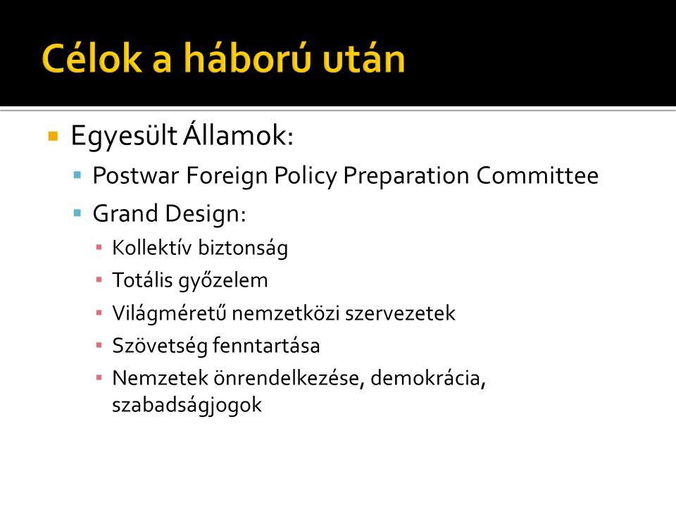  Egyesült Államok:  Postwar Foreign Policy Preparation Committee  Grand Design: ▪ Kollektív biztonság ▪ Totális győzelem ▪ Világméretű nemzetközi s