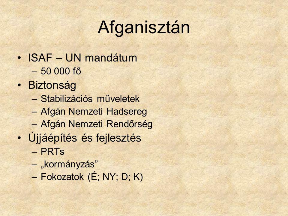 """Afganisztán ISAF – UN mandátum –50 000 fő Biztonság –Stabilizációs műveletek –Afgán Nemzeti Hadsereg –Afgán Nemzeti Rendőrség Újjáépítés és fejlesztés –PRTs –""""kormányzás –Fokozatok (É; NY; D; K)"""
