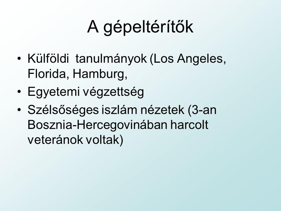 A gépeltérítők Külföldi tanulmányok (Los Angeles, Florida, Hamburg, Egyetemi végzettség Szélsőséges iszlám nézetek (3-an Bosznia-Hercegovinában harcolt veteránok voltak)