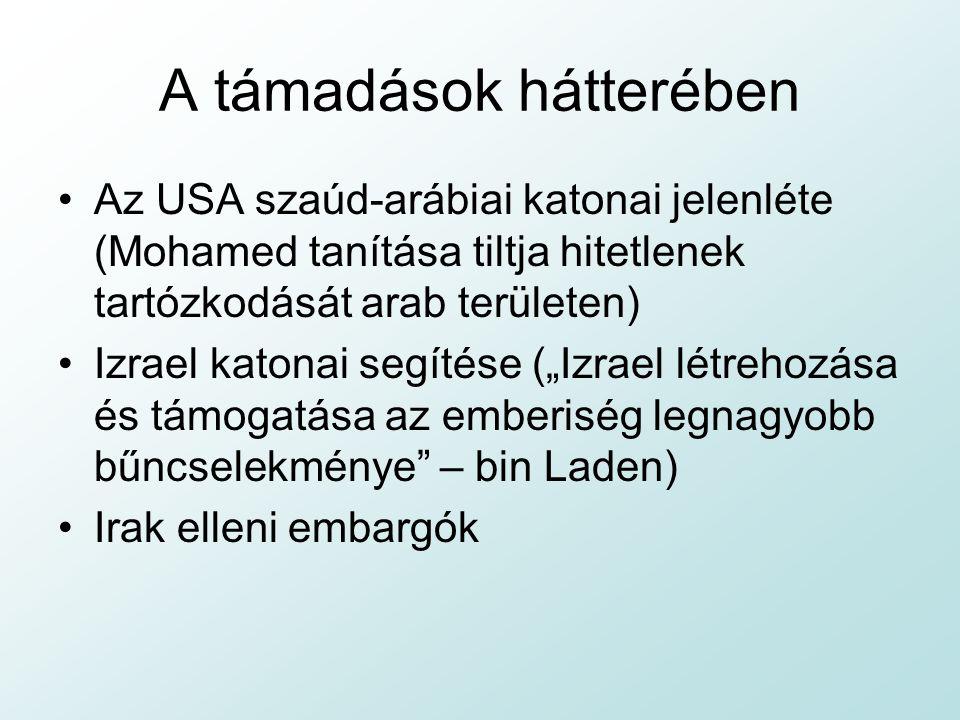"""A támadások hátterében Az USA szaúd-arábiai katonai jelenléte (Mohamed tanítása tiltja hitetlenek tartózkodását arab területen) Izrael katonai segítése (""""Izrael létrehozása és támogatása az emberiség legnagyobb bűncselekménye – bin Laden) Irak elleni embargók"""