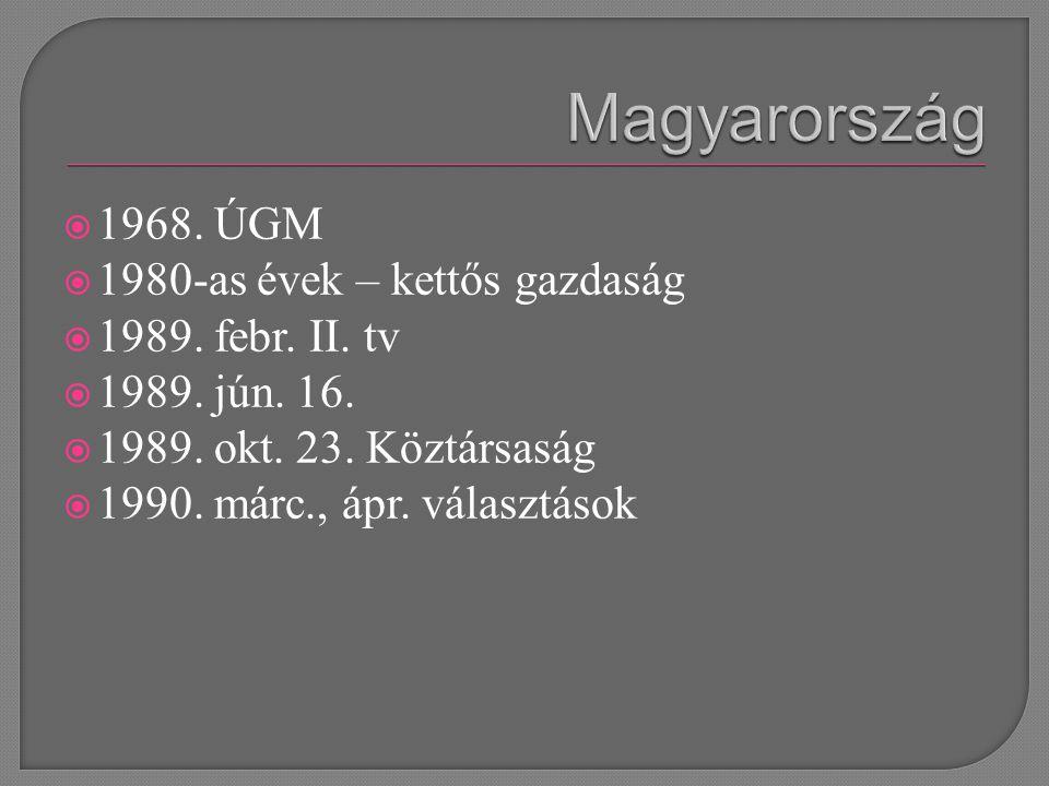  1968. ÚGM  1980-as évek – kettős gazdaság  1989.