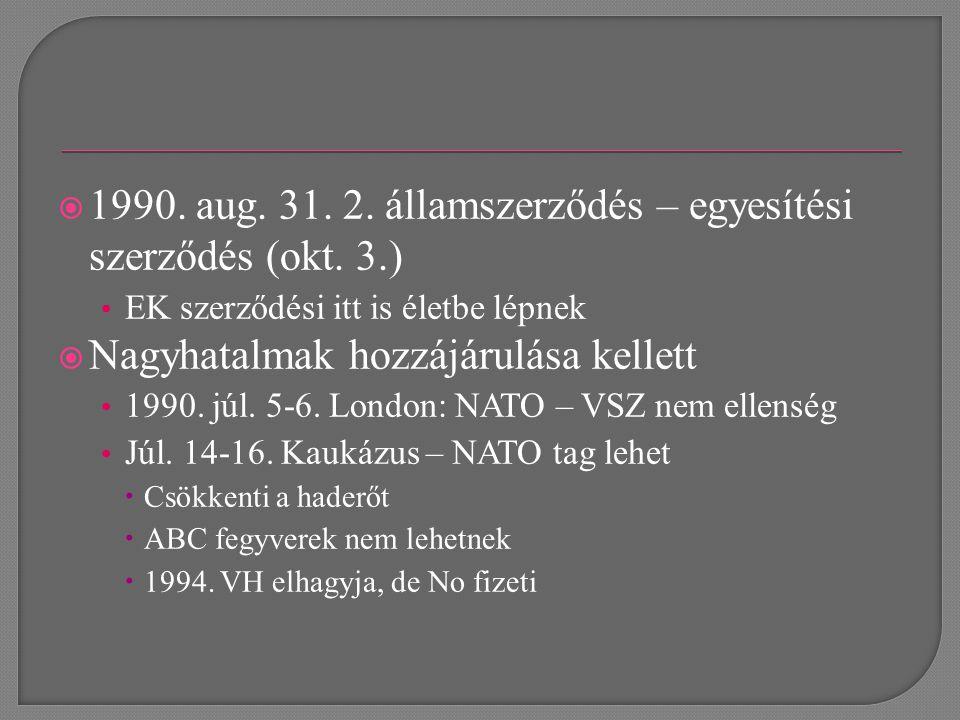  1990. aug. 31. 2. államszerződés – egyesítési szerződés (okt.