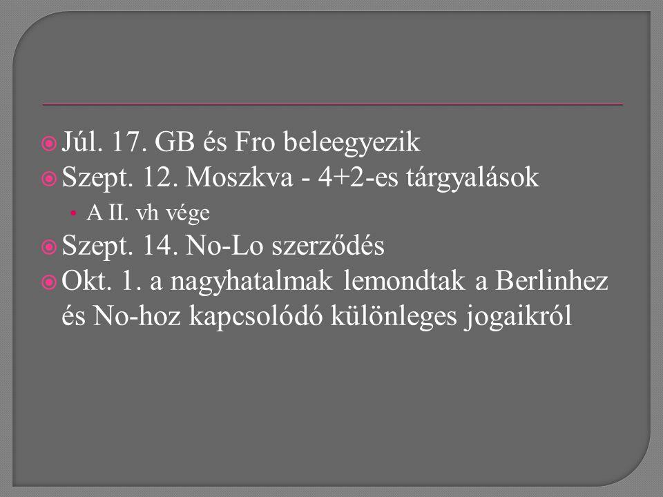  Júl. 17. GB és Fro beleegyezik  Szept. 12. Moszkva - 4+2-es tárgyalások A II.
