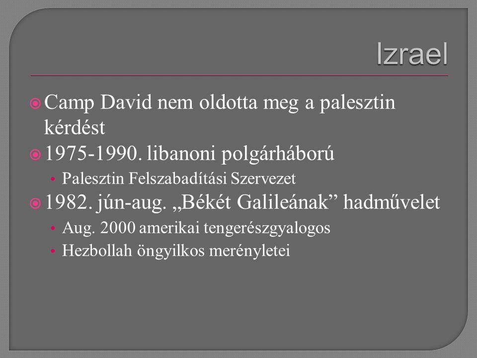  Camp David nem oldotta meg a palesztin kérdést  1975-1990.