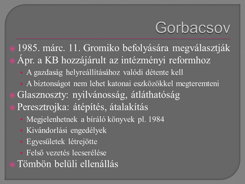 1985. márc. 11. Gromiko befolyására megválasztják  Ápr.
